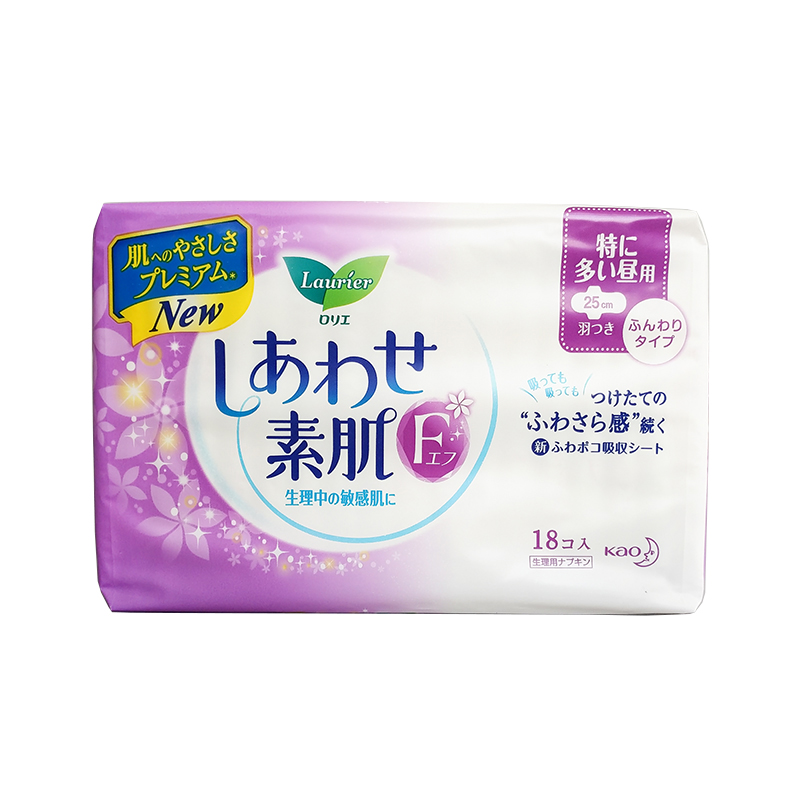 【一般贸易】日本 Laurier 花王乐而雅 卫生巾乐而雅F(敏感肌绵柔)系列F25cm*18枚