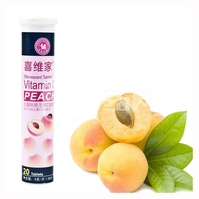 【一般贸易】喜维家维生素C泡腾片 水蜜桃4g*20