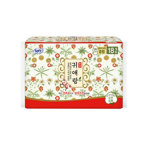 【一般贸易】韩国LG贵爱娘闺艾朗中药草本卫生巾  25cm*18片