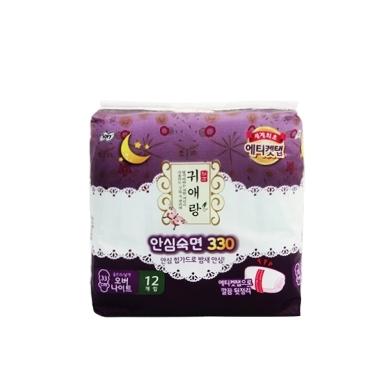 【一般贸易】韩国LG贵爱娘闺艾朗中药草本夜用卫生巾  33cm*12片