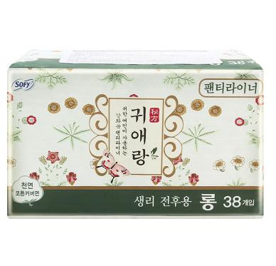 【一般贸易】韩国LG贵爱娘闺艾朗中药草本卫生巾  17.5cm*38片